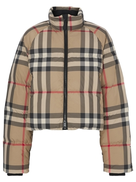 Check Print Puffer Jacket Archive Beige