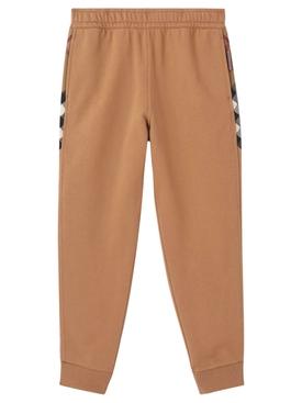 Check Panel Cotton Jogging Pants Camel