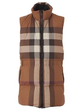 Mid-Length Check Puffer Vest Dark Birch Brown
