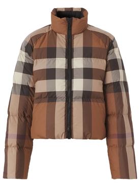 Check Puffer Jacket Dark Birch