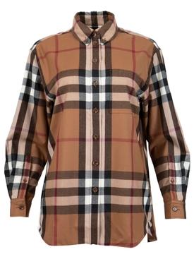 Wool Check Print Oversized Shirt Birch Brown