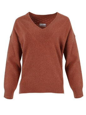 Copper-tone V-neck Sweater