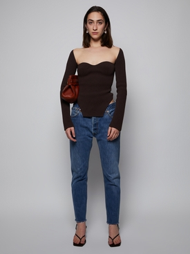 MADDY RIBBED SWEATER, CHESTNUT BROWN