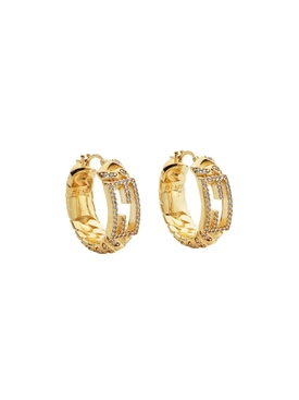 Gold-tone crystal Logo hoop earrings