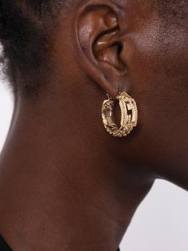 Gold-tone crystal Logo hoop earrings