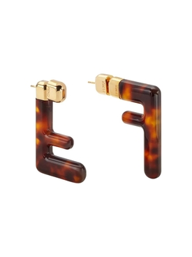 Tortoiseshell FF Logo Earrings BROWN