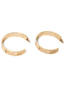 Gold-tone Logo Cutout Hoop Earrings