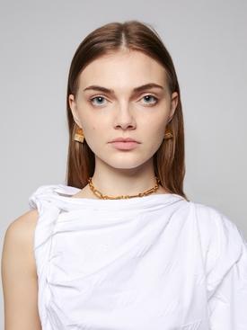 Gold-tone Baguette embellished necklace
