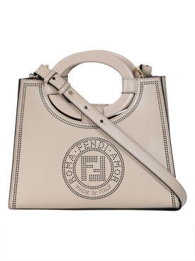 Fendi - Neutral Perforated Logo Hand Bag - Women