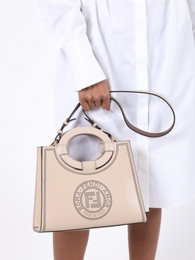 Neutral perforated logo hand bag