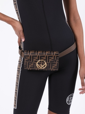 Brown and black iconic print belt bag