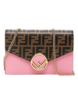 Fendi - Pink And Brown Mini Wallet On Chain - Women