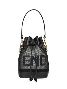 MINI MON TRESOR MESH AND LEATHER BUCKET BAG BLACK