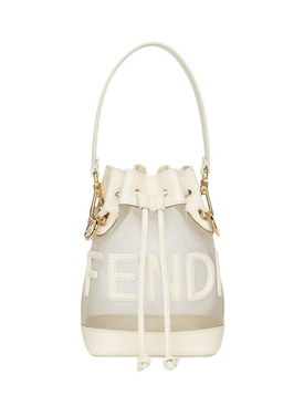 MINI MON TRESOR MESH AND LEATHER BUCKET BAG WHITE