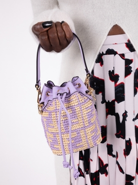 Mini mon Tresor logo bucket bag ANEMONE PURPLE