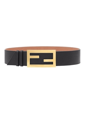 Logo buckle Leather belt NERO BLACK