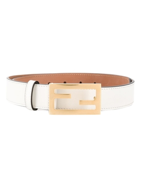 Logo buckle Leather belt ICE WHITE