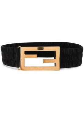 Baguette ruched belt, black
