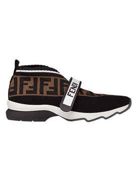 FF logo knit sneakers BROWN