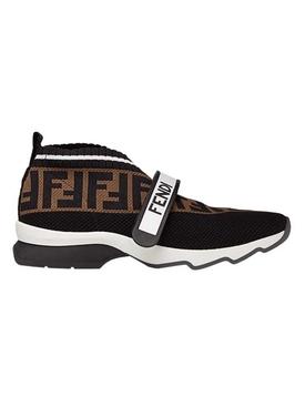 FF logo knit sneakers BROWN