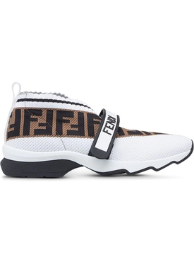 FF logo knit sneakers WHITE BLACK