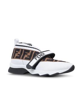FF logo knit sneakers WHITE/BLACK