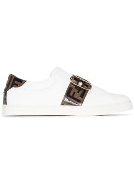 White logo print sneaker
