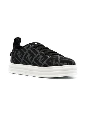 Logo-print flatform sneakers Charcoral Nero