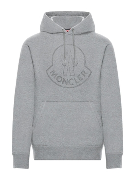 2 Moncler 1952 EMBELLISHED LOGO HOODIE SWEATER LIGHT GREY