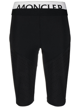 High-waisted perforated cycling shorts, black