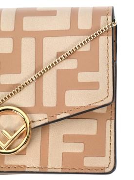 Leather Chain Wallet, Honey Beige