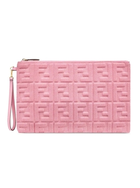 Fendi - Pink Embossed Terrycloth Pouch - Women