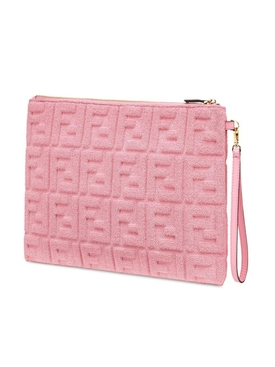 Pink Embossed Terrycloth Pouch