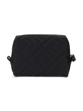 Quilted logo print cosmetic bag, black