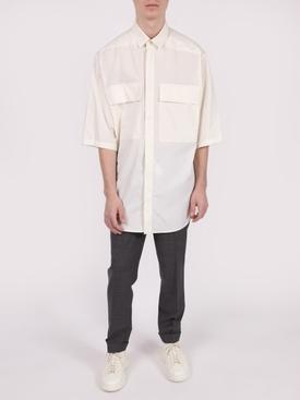 cream oversized short sleeve shirt
