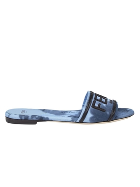 Floral tie-dye logo sandals, SAGITTARIUS BLUE