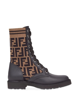 LOGO KNIT LEATHER COMBAT BOOTS BROWN