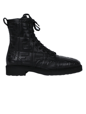 Embossed logo leather lace-up boots NERO BLACK