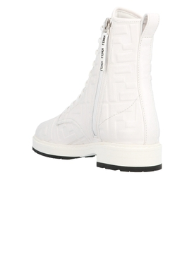 Embossed logo leather lace-up boots SNOW