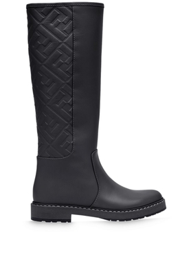 Black Logo Embossed Boot