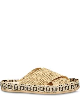 Woven Raffia Logo Sandal