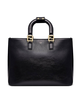 Medium top handle FF tote BLACK