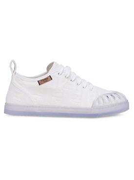 white jacquard FF motif sneakers