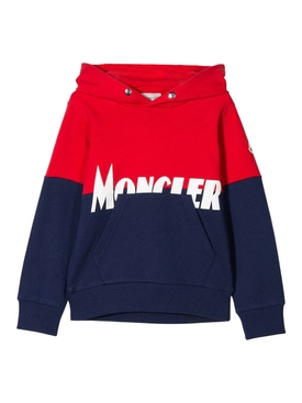 Moncler - Kids Navy And Red Logo Hoodie - Kids
