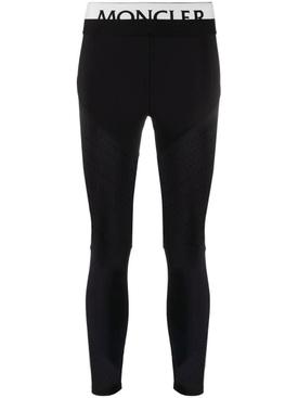 Black and white logo waistband stretch leggings