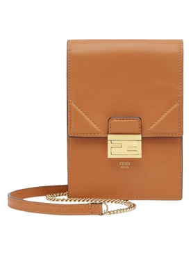 Vertical wallet on chain bag BROWN