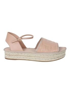 Nude Leather and Raffia Platform Sandals