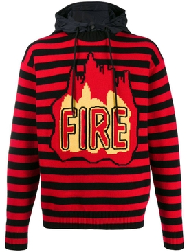 Striped fire hoodie