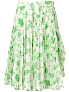 Calvin Klein 205w39nyc - Floral Print Pleated Skirt Green - Women