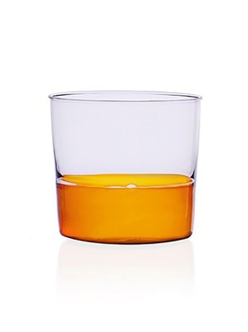 Amber and Pink Water Glass